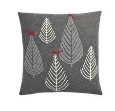 gray and white trees holiday pillow cover from The Company Store
