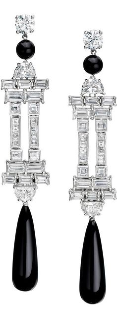 Diamond and Onyx Deco Style Earrings by Ivanka Trump