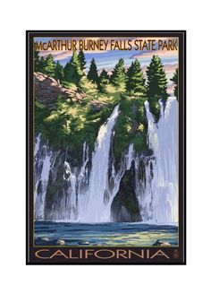 Burney Falls, California Scene - Lantern Press Artwork (24x36 Framed Gallery Wrapped Stretched Canvas), Multi