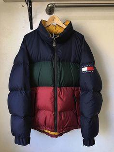 Vintage Tommy Hilfiger jacket goose down large colorblock