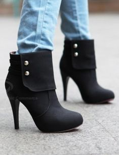 Laconic Sexy Solid Color Stiletto Heel Studs Design Women's Short Boots