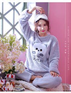 Pajama Sets Women Lovely Daily Home Clothing Thicker Warm Cartoon Embroidered Kawaii Full Sleeve Womens Pajamas Korean Style Cute Sleepwear, Sleepwear Women, Pajamas Women, Pajama Outfits, Hot Outfits, Fashion Outfits, Cozy Pajamas, Pyjamas, Pretty Lingerie