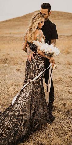 Dark Romance: 27 Gothic Wedding Dresses ❤  gothic wedding dresses trumpet low back with train casablancabridal ❤ #weddingdresses Black Wedding Gowns, Gothic Wedding, Halloween Wedding Dresses, Wedding Dress Pictures, Wedding Photos, Dream Dress, Romance, Colorado, Dark