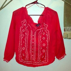 Boho peasant blouse Boho printed peasant blouse. Worn once, 3/4 sleeve. Photo looks red but it's more of a coral color. Great for summer time with white jeans :) American Eagle Outfitters Tops Blouses