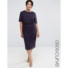 ASOS CURVE Lace Crop Top Midi Pencil Dress ($105) ❤ liked on Polyvore featuring dresses, navy, plus size, lace midi dress, navy blue midi dress, women's plus size dresses, scalloped lace dress and plus size lace dress
