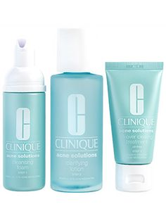 Skin care (acne treatment): Clinique Acne Solutions Clear Skin System uses salicylic acid and benzoyl peroxide to destroy bacteria and control oil without sucking skin dry