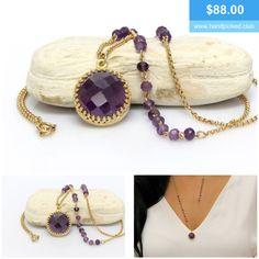 Gorgeous, isn't it? #amethyst #gemstone #gold #necklace #sterlingsilver #silver #rosegold #handmade #handpickedclub @handpicked2842