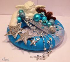 ...kreatívne tvorenie...hand-made dekorácie... - Fotoalbum - Vianočná výzdoba - Adventné vence na stôl - adventný veniec na stôl - tyrkysový
