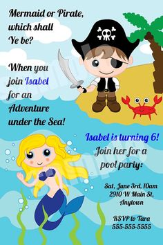 MERMAID and PIRATE custom Party Printable Invitation Design DIY---like the wording and the idea of pirates for boys. Pirate Birthday, Mermaid Birthday, 3rd Birthday Parties, Pirate Party, Birthday Ideas, 9th Birthday, Mermaid Party Invitations, Pirate Invitations, Printable Invitations