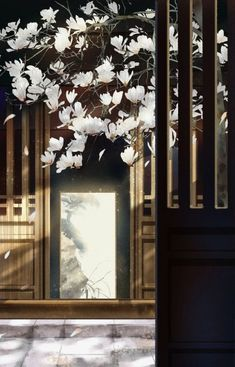 Under the Magnolia Tree, intoxicated by its scent. Fantasy Art Landscapes, Fantasy Landscape, Landscape Art, Chinese Painting, Chinese Art, Art Asiatique, Pretty Backgrounds, Chinese Architecture, Scenery Wallpaper
