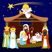 pic of nativity  - Three wise men bring presents to Jesus in Christmas Nativity Scene - JPG