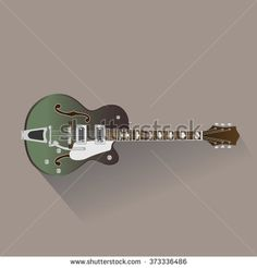 Classical  electric guitar. Musical string instrument collection. with shadow