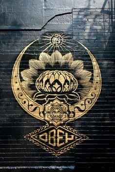 Lotus Mandala Street Art by Sheppard Fairy