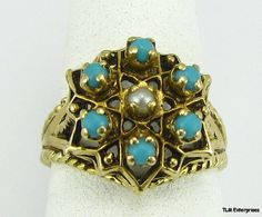 Victorian 14k Gold Six Stone Turquoise and Pearl Ring
