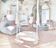 Emmas Magical and Feminine Toddler Room swing for kids room Kids Room Design Emmas Feminine Kids kidsrooms Magical Room Swing Toddler Baby Bedroom, Baby Room Decor, Nursery Room, Bedroom Decor, Bedroom Ideas, Room Baby, Bedroom Swing, Kids Bedroom Designs, Bedroom Girls