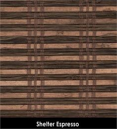 Shelter espresso woven wood roman shade in brown blends to add a natural look to custom window treatments in bedroom or living room