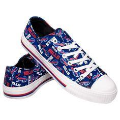 Buffalo Bills NFL Womens Low Top Repeat Logo Canvas Shoes 250e301c4