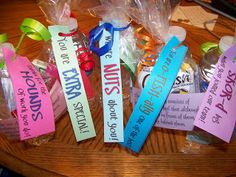 Saying Thanks Candy Bars | We filled bags with a food treat, a packet of Crystal Light and a ...