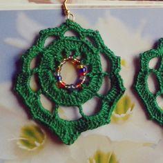 Handmade Bijoux and Accessories - Orecchini realizzati a mano all'uncinetto colore verde bottiglia con perline colorate
