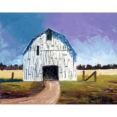 Barn Painting landscape painting Acrylic PRINT Country building rural rustic farm impressionist GICLEE reproduction 8 x 10 Building Painting, Wine And Canvas, Paint And Sip, White Barn, Old Barns, Texture Painting, Impressionist, Landscape Paintings, Windmills