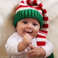 Christmas Baby Elf Crochet Baby Hat