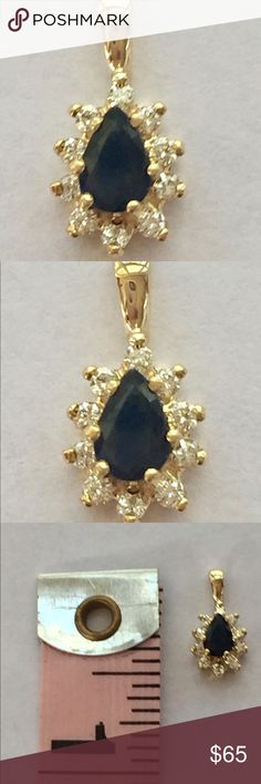 NWT 14kt YG sapphire and diamond pendant Brand new pendant, 14kt yellow gold  with 10 diamonds and pear sapphire. Jewelry Necklaces