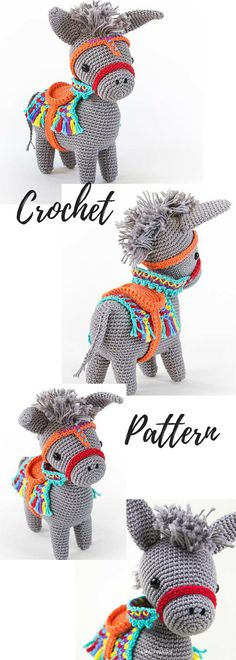 Pedro the Amigurumi Donkey | amigurumi crochet pattern, written instructions and step by step photos | seaside or piñata donkey, pattern available for download after purchase #ad