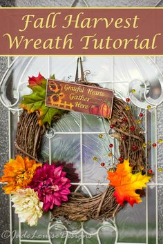 DIY Fall Wreath tutorial, an insanely easy harvest or Autumn Wreath tutorial. So easy, you could complete the project in less time that it takes you to read the tutorial. And they looks great!