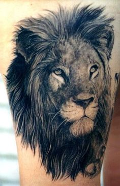 Cool Lion Tattoo, I also want a realistic tat! This lion it beautiful