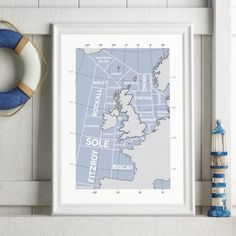 Shipping Forecast Regions Print by Tabitha Mary.  £16.00–£105.00  The Shipping Forecast was first broadcast in the 1920s its intended objective was to warn seafarers of impending storms and gales. Its solemn, rhythmic tones has inspired poems, songs, novels and artists. As familiar though the sea areas are by name, few of us give much thought to where they are. This contemporary print shows the shipping areas in a modern and graphic style; it's bound to be a conversation starter.