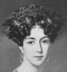 Crown Princess Josephine (later Queen Josephine) of Sweden wearing  the Leuchtenberg sapphires. Ca 1825.  See earlier pin for a colour pic of the tiara and more on the history.