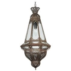 Moroccan Clear Glass Metal Pendant | See more antique and modern Chandeliers and Pendants at https://www.1stdibs.com/furniture/lighting/chandeliers-pendant-lights