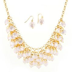 Gold-Tone White Pearl Bead Necklace And Earring Set