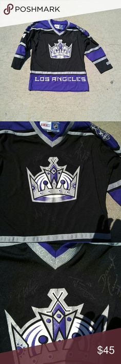 La kings hockey ccm jersey 2008 autographed Frolov 24 and other misc signatures in a youth XL jersey purple 2008 season . NHL great buy . Vintage items lv  Gucci urban givenchy Ysl vuitton Goyard Dior  Ck polo levis Raf  Pink Balmain Ralph Lauren Converse Patagonia Vintage Celine CCM  Shirts & Tops Tees - Long Sleeve