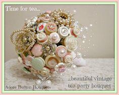 The ''Afternoon Tea'' - Vintage Button Bouquet - Wedding