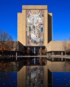 This image is of the Theodore Hesburgh Library, renamed in 1987 after the former President of the University of Notre Dame and the Priest of the Congregation of Holy Cross. He died February 26, 2015 at the Holy Cross House.