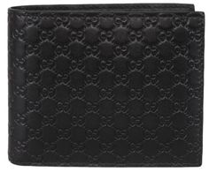 f86b1a5de244 NEW Gucci Men's 260987 Black Leather MICRO GG Guccissima Bifold Wallet Calf  Leather, Pebbled Leather