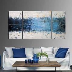 Wake Up Hand-painted 3-piece Gallery-wrapped Canvas Art Set #HomeDecor #Modern #ModernDecor #WallArt