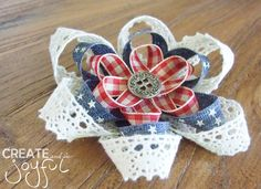 4th of July Independence Day Red White and Blue with Lace Hair Bow Clip Ribbon, Ivory, Cowgirl Party, patriotic, Country chic #ID0020 by CreateAndBeJoyful on Etsy