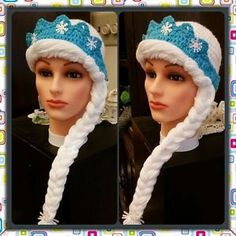 Disney Frozen Inspired Princess Elsa Hat Wig Handmade Crochet in ...