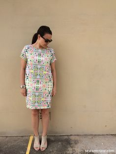 Named Clothing Inari Tee Dress in Geometric Polyester | sew Amy sew