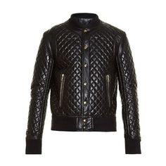 Balmain Diamond-quilted leather bomber jacket ($3,815) ❤ liked on Polyvore featuring men's fashion, men's clothing, men's outerwear, men's jackets, black, mens quilted jacket, mens bomber jacket, mens leather flight jacket, mens leather jackets and mens leather bomber jacket