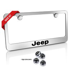 jeep chrome metal license plate frame and screw cover basic kit kel 9035660