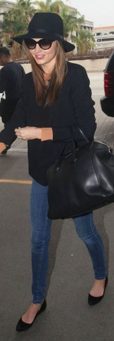 Miranda Kerr 4.12.2012 Sweater: A.L.C. Shoes and purse: Givenchy, Jacket: Stella McCartney, Hat: Rag