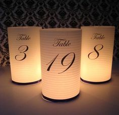 Wedding table numbers.  Black and white Damask is all the rage!  Here