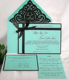 Tiffany Blue and Black Lace Wedding Invitation
