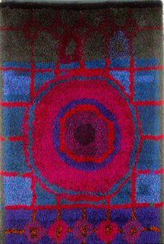 Katrilli, Oili Mäki Rya Rug, Wool Rug, Mid Century Art, Mid Century Design, Latch Hook Rugs, Geometric Rug, Klimt, Bath Rugs, Rug Hooking