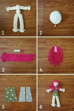 diy braid doll pattern tutorial My mom showed me how to do this when I was little but I forgot all about it. This would be great Stevens we need to do this with Kk. Doll Crafts, Diy Doll, Yarn Crafts, Diy And Crafts, Crafts For Kids, Wool Dolls, Yarn Dolls, Operation Christmas Child, Diy Braids