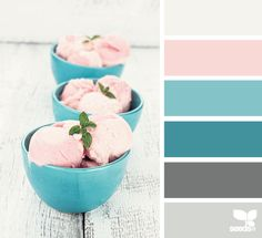 DESIGN SEEDS: Find the palettes you love: Created by Jessica Colaluca, a color specialist with a background in industrial design. You can search for palettes by theme, or by color value using the little sliders to obtain the color you desire. You will then come up with a group of inspirational & harmonious color combinations / Seen here: Dessert tones / http://design-seeds.com/
