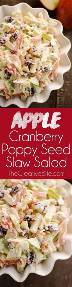 Apple Cranberry Poppy Seed Slaw Salad is a fresh and crunchy side dish bursting with healthy fall flavors. Sweet apples and dried cranberries are combined with savory cabbage, carrots and green onions and mixed in a tangy Greek yogurt poppy seed dressing Best Salad Recipes, Slaw Recipes, Vegetarian Recipes, Cooking Recipes, Chickpea Recipes, Healthy Side Dishes, Vegetable Side Dishes, Side Dish Recipes, Pasta